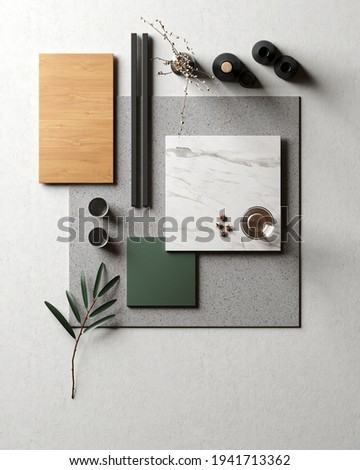 Mood board. Material samples interior design Royalty-Free Stock Photo #1941713362