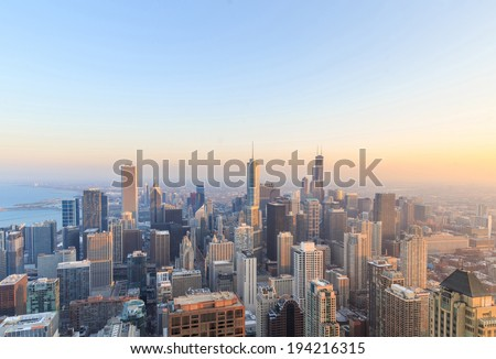 City of Chicago. Aerial view of Chicago downtown at sunset from high above.