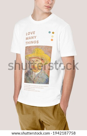 Man in white t-shirt with Van Gogh print teen's apparel shoot Royalty-Free Stock Photo #1942187758