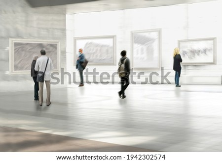 Abstract image of people in the hall of the exhibition hall Royalty-Free Stock Photo #1942302574