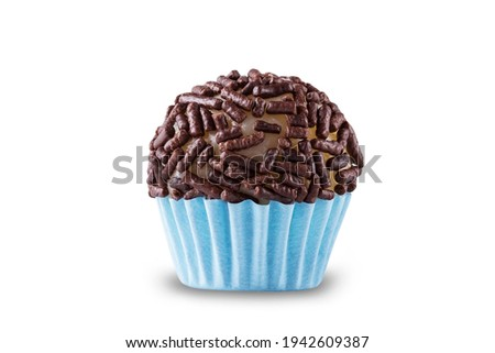 Chocolate brigadeiro with granulated chocolate. Brigadeiro, traditional Brazilian sweet. Royalty-Free Stock Photo #1942609387