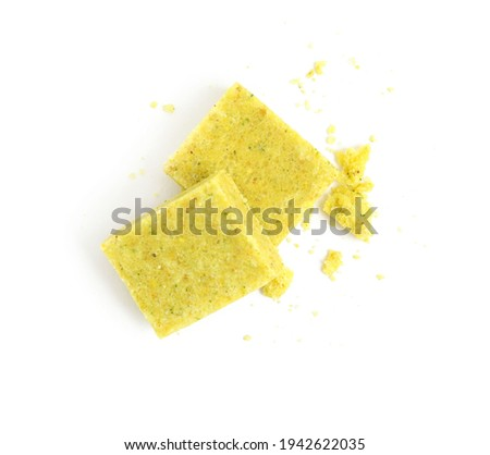 Bouillon cubes on white background, top view