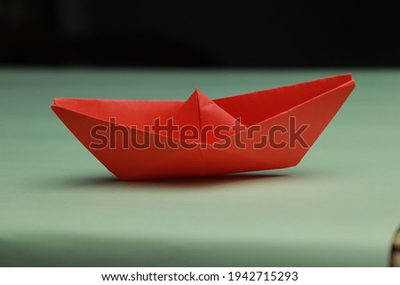 Water Boat Red Color Stock Photo HD Made by Paper Origami