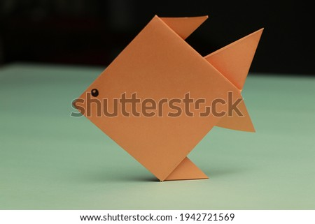 Origami Orange Color Fish made by Paper HD Stock Photo colorful foldings
