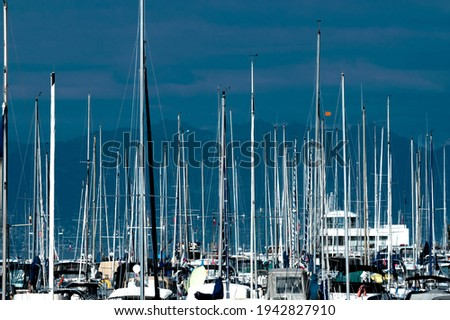 Numerous yacht masts against backdrop of dark hills and cloudy evening sky Royalty-Free Stock Photo #1942827910