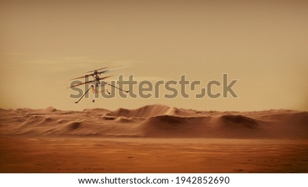 Ingenuity Mars Helicopter in Flight. Elements of image furnished by NASA. Royalty-Free Stock Photo #1942852690