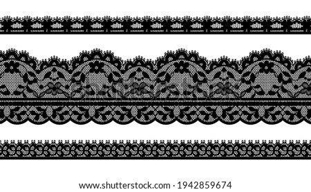 Black Trim Lace Ribbon on White background.Jacquard Mesh Lace Fabric.