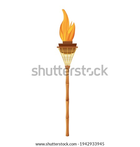 Tiki torch with bamboo stick with flame in cartoon style isolated on white background. Hawaiian decoration, island symbol. Vintage element, summertime.