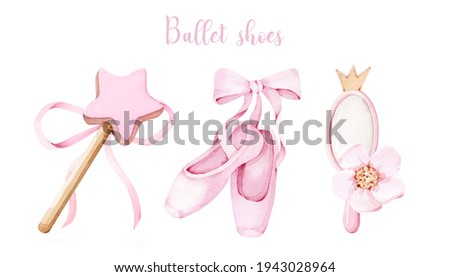 Watercolor baby ballet shoes with pink girl mirror and magic wand. Bow ribbon on isolated white background for cards, princess nursery, poster.