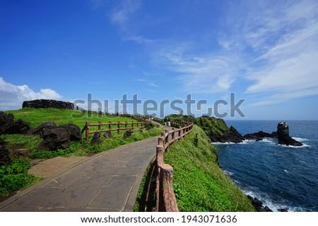a beautiful seascape with a seaside walkway, scenery around seopjikoji Royalty-Free Stock Photo #1943071636