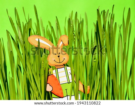 Fresh green grass with easter bunny stock images. Easter rabbit wooden decoration in the fresh spring grass stock photo