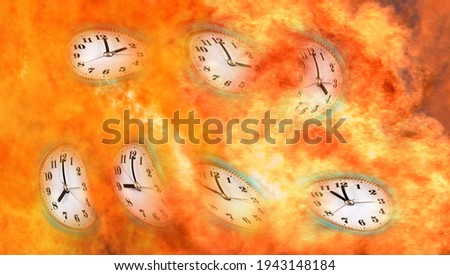 An abstract image of distorted watch dials that are engulfed in flames. Conceptual image illustrating the state when time is running out