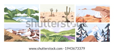 Set of empty landscapes and sceneries with snowy mountain tops, hills, field, lake, sea and desert. Collection of scenic nature views in spring, summer and autumn. Colored flat vector illustration Royalty-Free Stock Photo #1943673379