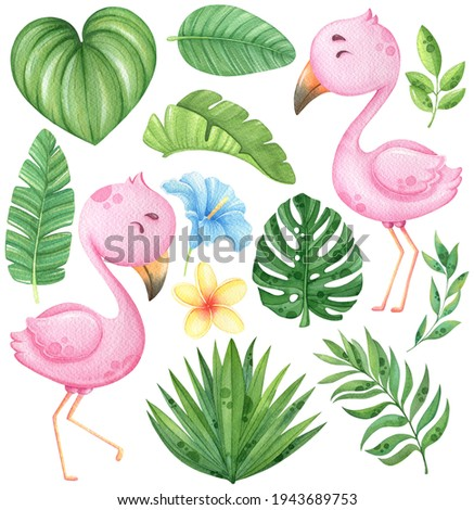 Watercolor flamingo and tropical leaves clip art