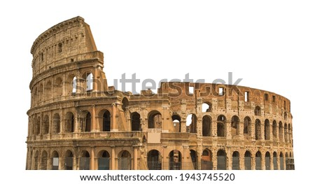 Colosseum, or Coliseum, isolated on white background. Symbol of Rome and Italy Royalty-Free Stock Photo #1943745520