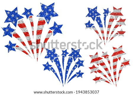 Bright USA patriotic clip art set. Fireworks in colors of national flag on white background