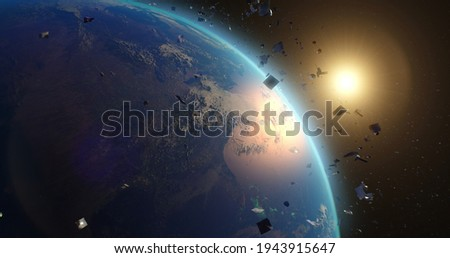 Space debris around planet Earth Royalty-Free Stock Photo #1943915647