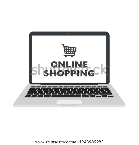 Online shopping on laptop computer flat icon for apps and websites. illustration
