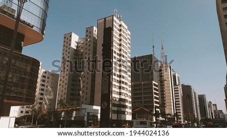 Paulista Avenue a tourist place in Sao Paulo, Brazil. Royalty-Free Stock Photo #1944024136