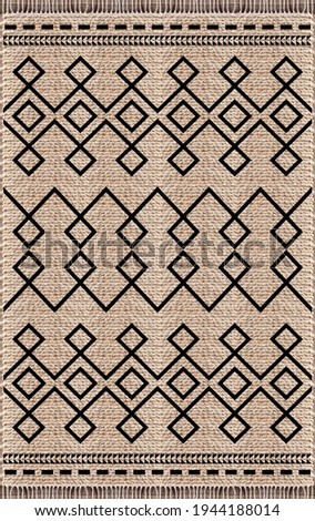 Woven jute printed area rug. Royalty-Free Stock Photo #1944188014