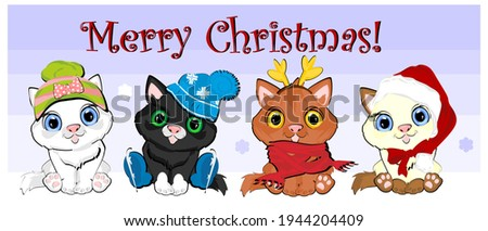 Merry Christmas with christmas cats