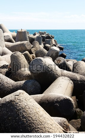 Concrete blocks for protection of coast #194432822