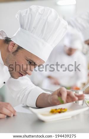 closeup on chef garnishing a plate #194439275