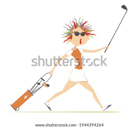 Smiling golfer woman goes to play golf illustration. Cartoon woman in sunglasses with golf bag and golf club goes to the golf course isolated on white