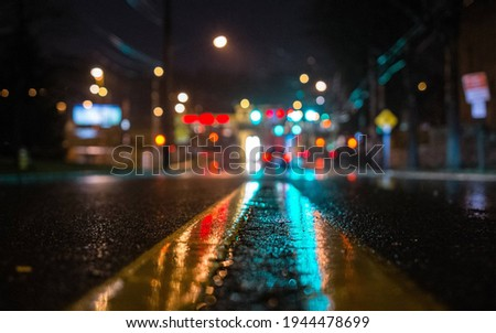 The camera on the road. New York streets. Night view.