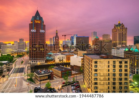 Milwaukee, WIsconsin, USA downtown skyline at dusk.