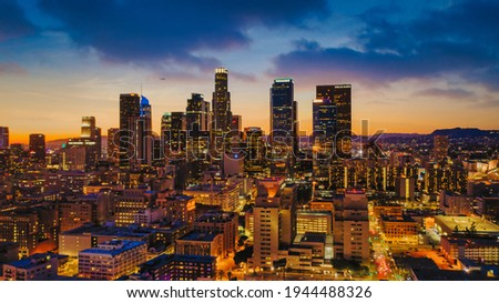 Los Angeles drone view of downtown skyline Royalty-Free Stock Photo #1944488326