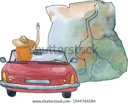 watercolor travel clipart road trip clip art sublimation designs couple adventure traveling best friends red cars pine tree map backpack