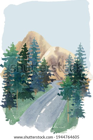 watercolor travel theme background mountain landscape clipart  traveling clip art road trip image pine tree nature landscaping sketch