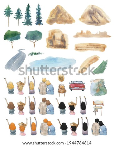watercolor travel clip art road trip clipart best friends mountain lake image black girl traveling red car couple pine tree backpack map