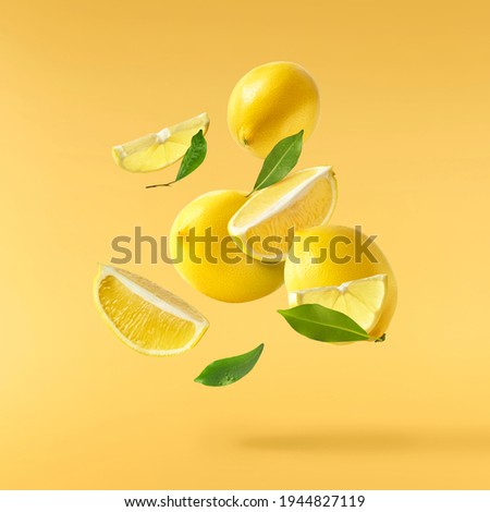 Fresh raw lemons with green leaves falling in the air isolated on yellow illuminating background. Food levitation or zero gravity conception. High resolution image Royalty-Free Stock Photo #1944827119