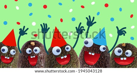 Group of funny avocado with googly eyes wearing party hats having fun.