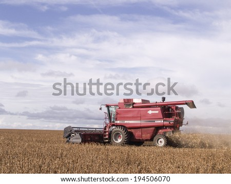 MATO GROSSO, BRAZIL - MARCH 02, 2008: Mass soybean harvesting at a farm in Mato Grosso #194506070