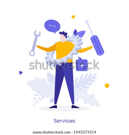 Man holding wrench, screwdriver and gear wheel. Concept of technical service, mechanical repair, maintenance work, professional support, help or assistance. Modern flat colorful vector illustration. Royalty-Free Stock Photo #1945073314