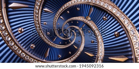 Time spiral clock concept. Round blue diamond golden clock with hands twisted to surreal spiral. Abstract watch background with twisted ribbed dial Royalty-Free Stock Photo #1945092316