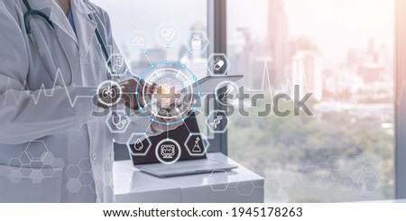 Medical health tech science ai technology, innovative iot global healthcare with doctor on telehealth, telemedicine service analyzing online patient health record information data in hospital lab Royalty-Free Stock Photo #1945178263