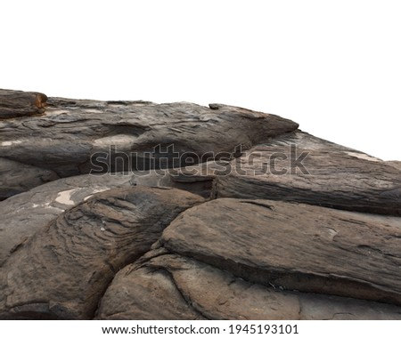 Cliff stone located part of the mountain rock isolated on white background. Royalty-Free Stock Photo #1945193101