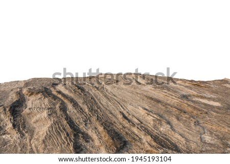 Cliff stone located part of the mountain rock isolated on white background. Royalty-Free Stock Photo #1945193104