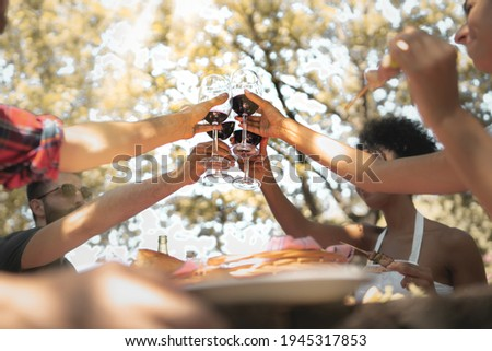 Group of friends toasting with red wine together sitting on a table in the countryside. Friendship celebration with young people clinking wineglasses together
