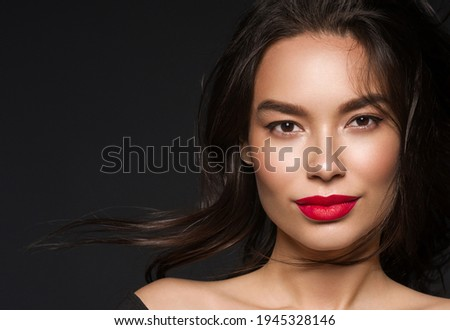 Beautiful asian woman face healthy skin young beautiful female model close up skin portrait Royalty-Free Stock Photo #1945328146