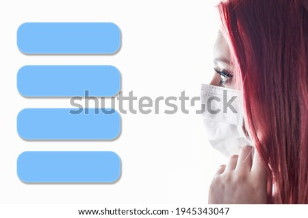 Side view closeup portrait of woman with medical mask and four  blue transparent rectangles. Infographics template ready for your use.