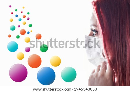 Side view closeup portrait of woman with medical mask and falling colorful balls. Infographics template ready for your use.