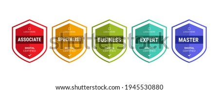 Certified logo badge shield design for company training badge certificates to determine based on criteria. Set bundle certify with colorful security vector illustration. Royalty-Free Stock Photo #1945530880