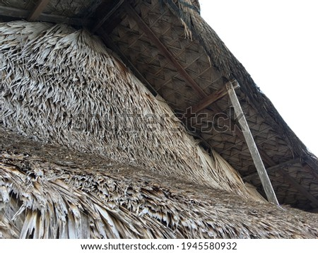 close up view of thatching roof Royalty-Free Stock Photo #1945580932