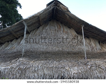 close up view of thatching roof Royalty-Free Stock Photo #1945580938