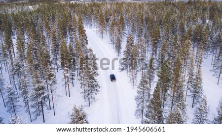 Bird's eye view of car moving on rural path passing coniferous forest trees in winter, aerial drone view of suv driving on road trip. Scenery North nature landscape Royalty-Free Stock Photo #1945606561